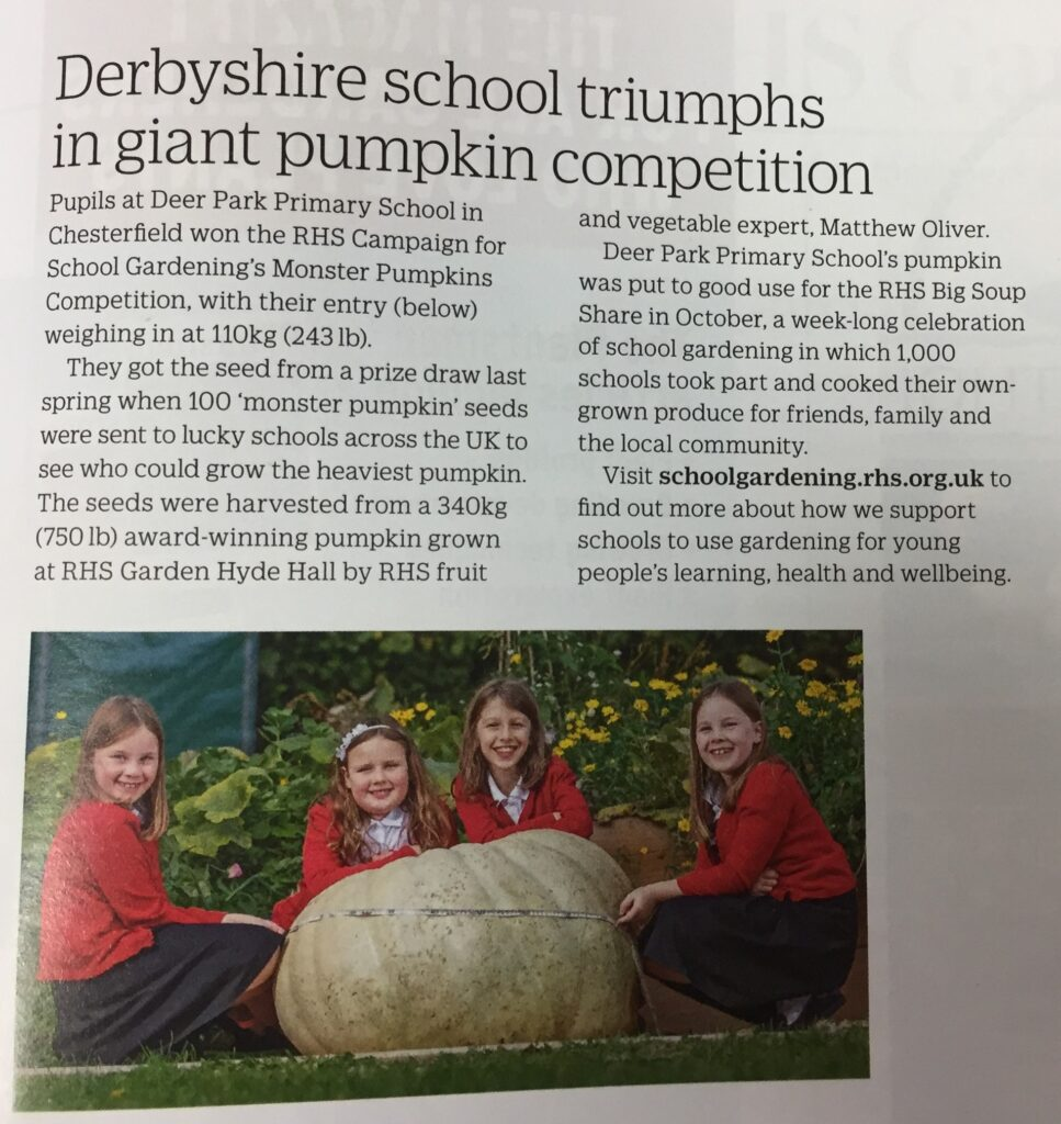 Derbyshire school triumphs in giant pumpkin competition